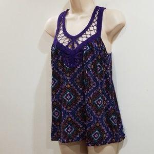 Lily White Tops - Lily White women's purple multi color blouse